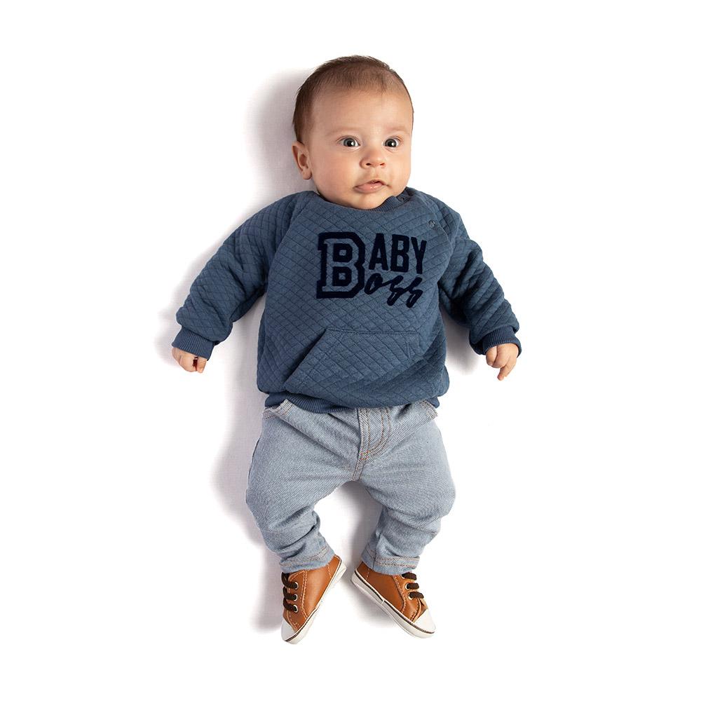 Conjunto Baby Boss com Calça em Cotton Jeans