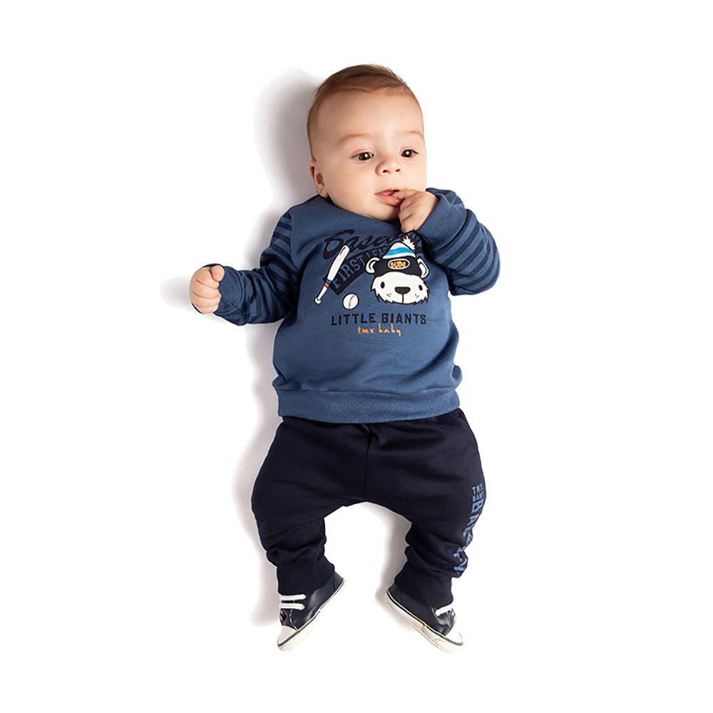 Conjunto Baseball Baby Com Saruel Azul