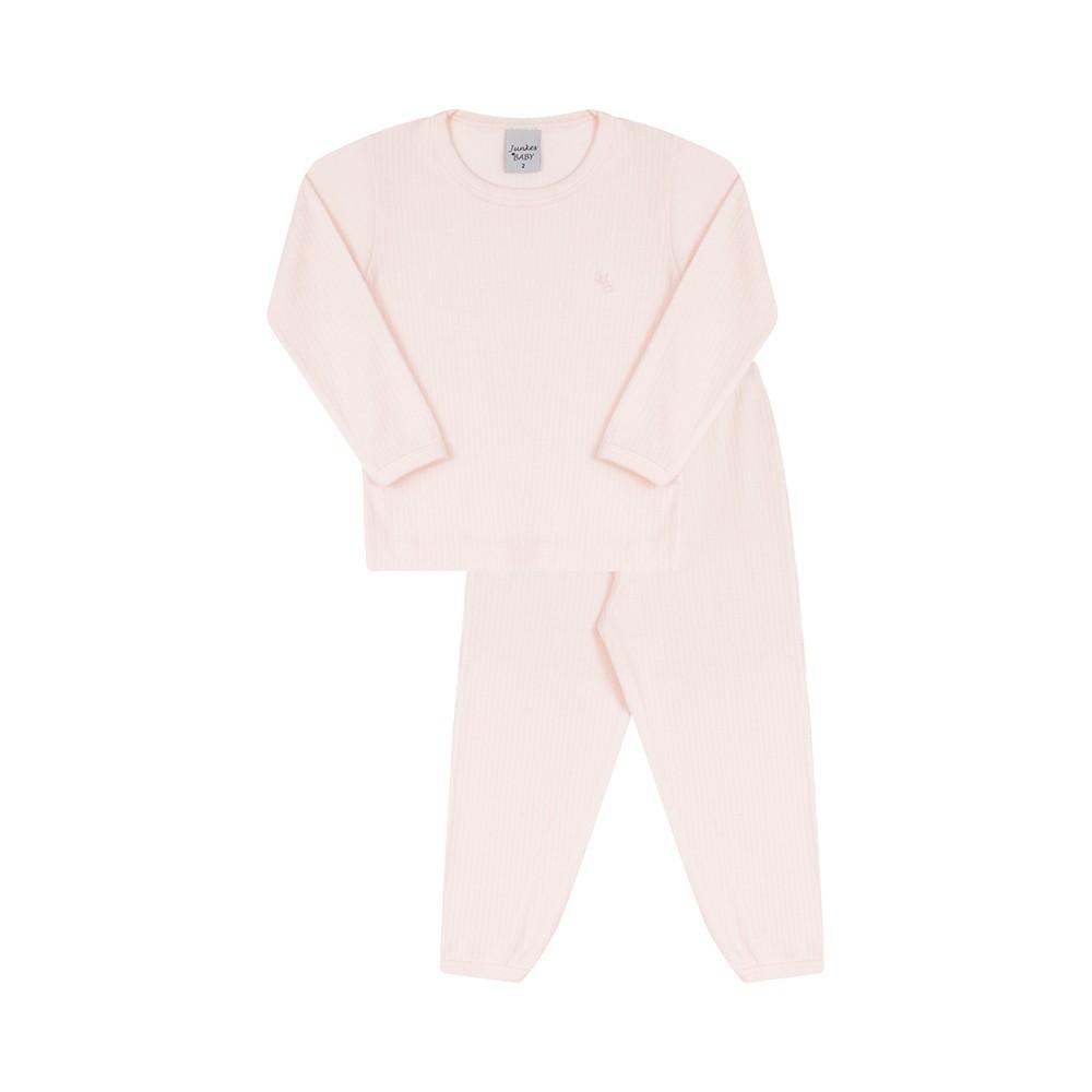 Conjunto Blusa e Calça Canelado 100% algodão Rosa Claro