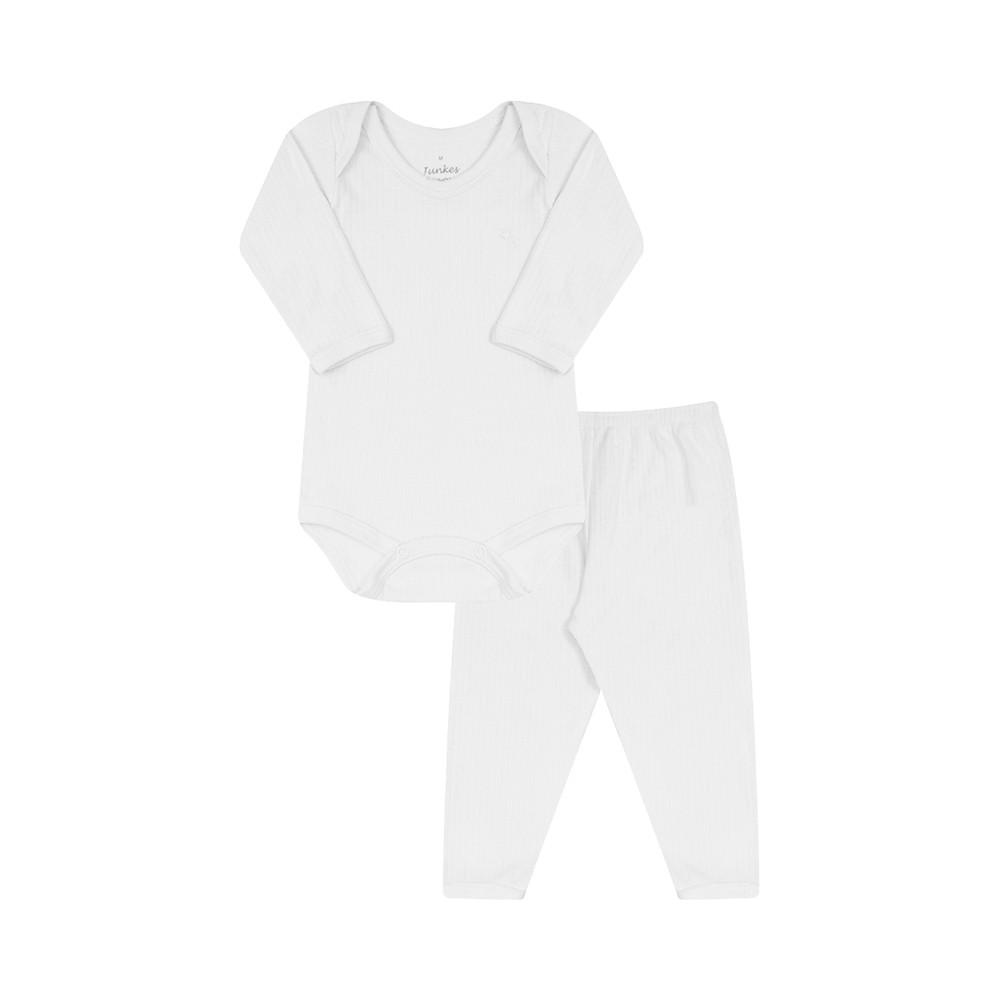Conjunto Body e Calça Canelado 100% algodão Branco