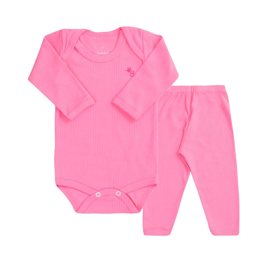 Conjunto Body e Calça Canelado 100% algodão Rosa Chiclete