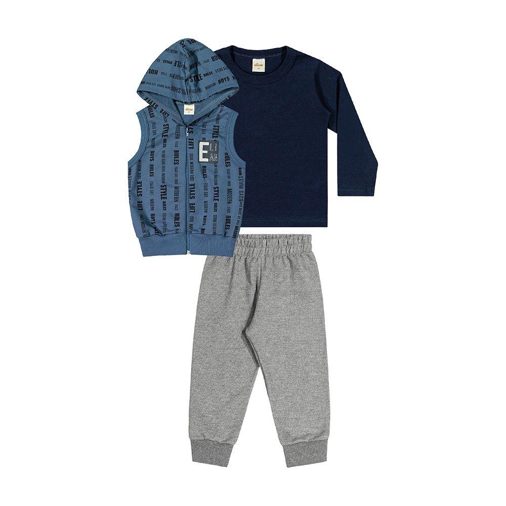 Conjunto Boy com Colete Azul