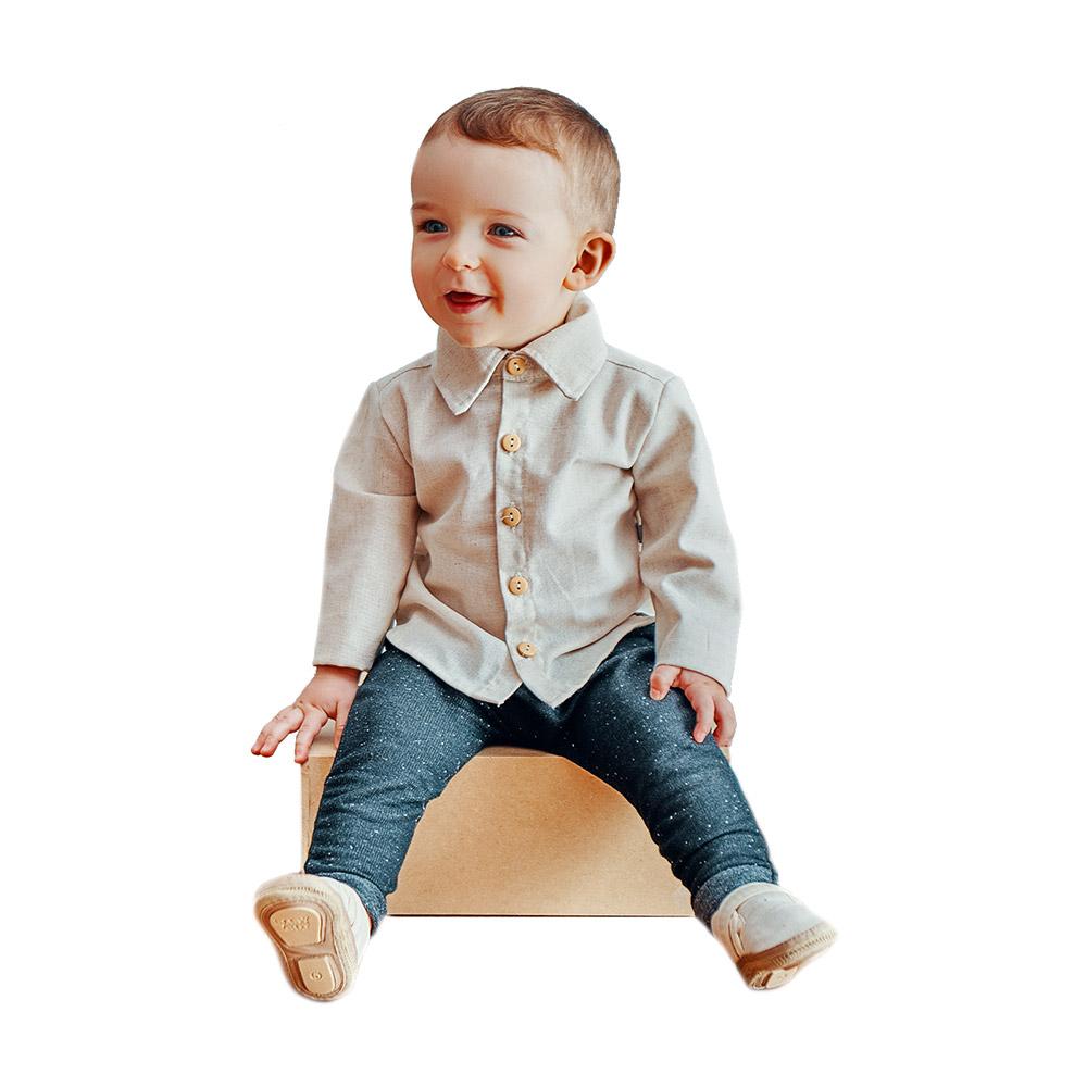 Conjunto Camisa em Linho e Calça em Moletinho Jeans