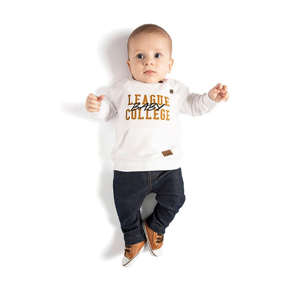 Conjunto College Baby com Calça em Cotton Jeans