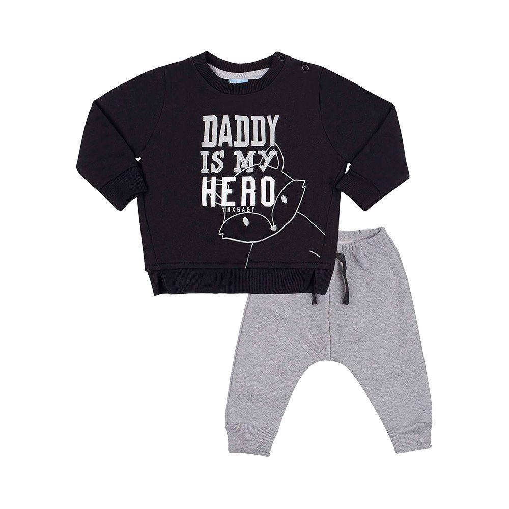 Conjunto Daddy Is My Hero Preto com Mescla