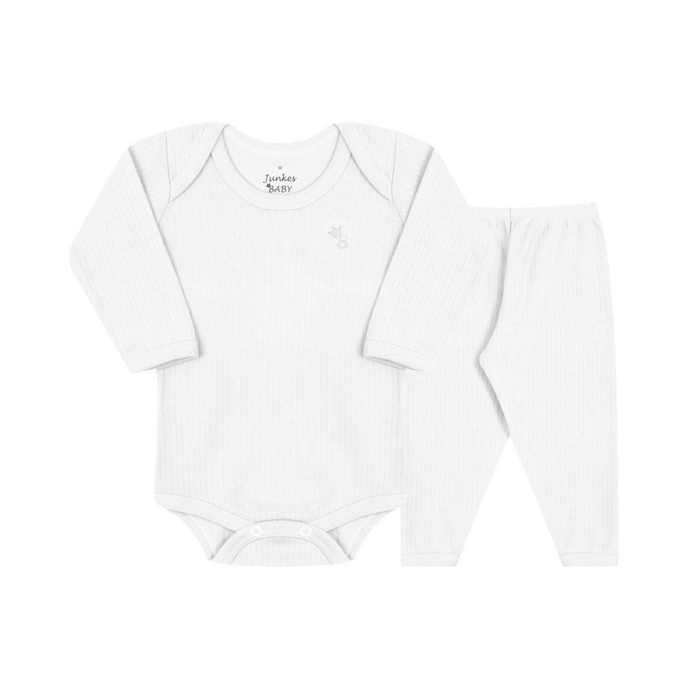 Conjunto de Body e Calça 100% algodão Branco