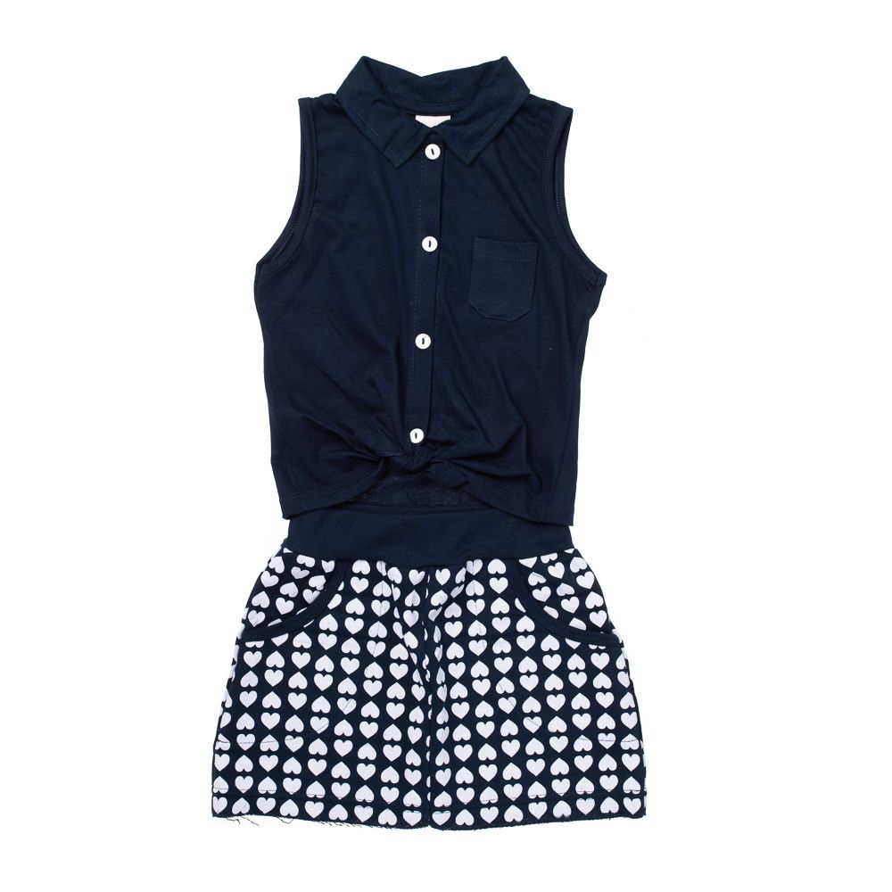 Conjunto Fashion Girl Corações Marinho