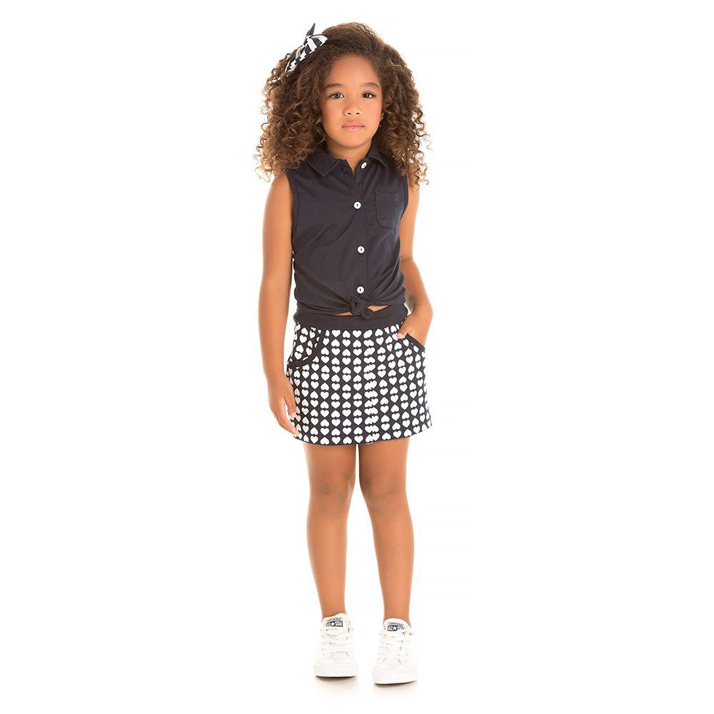 Conjunto Fashion Girl Corações Preto
