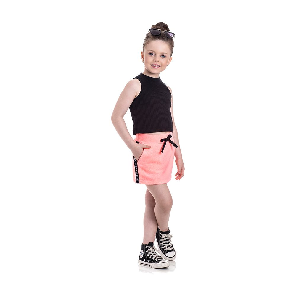 Conjunto Fashionista Neon com Shorts Saia