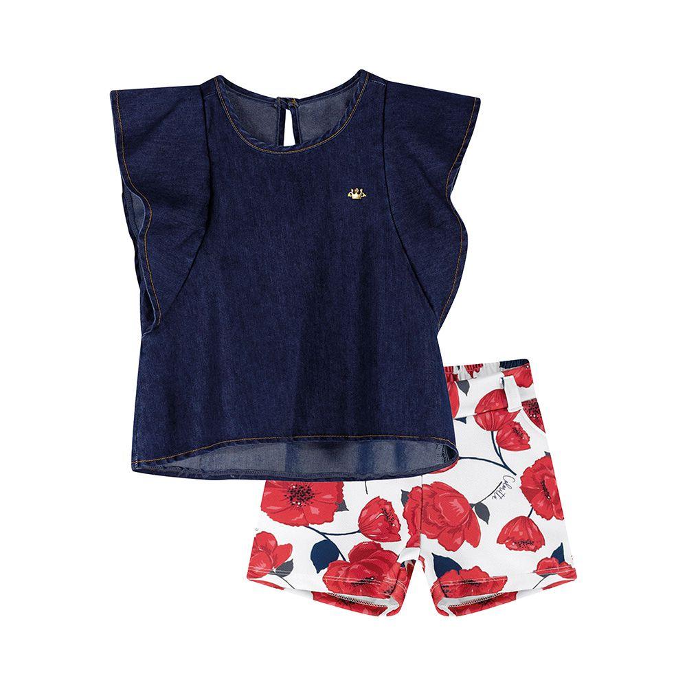 Conjunto Floral com Jeans