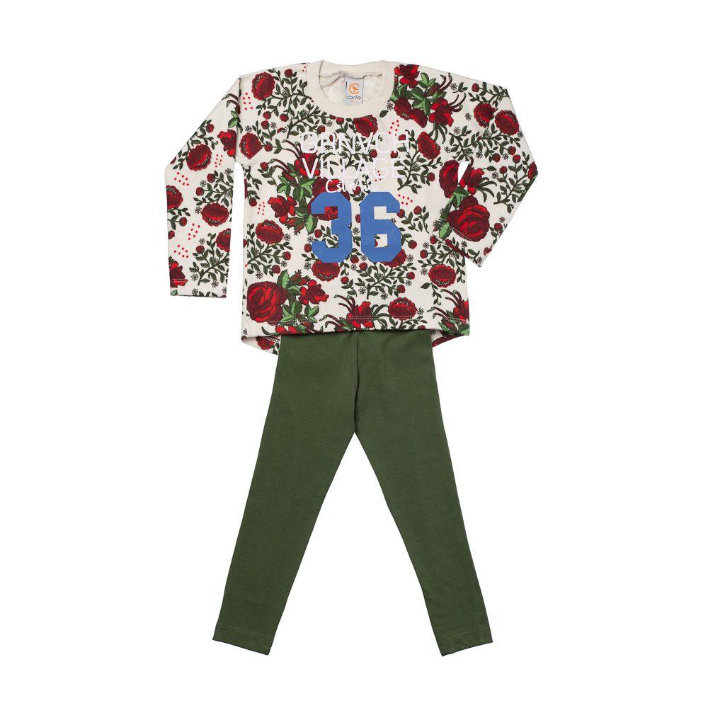 Conjunto Floral Moletom e Legging Verde