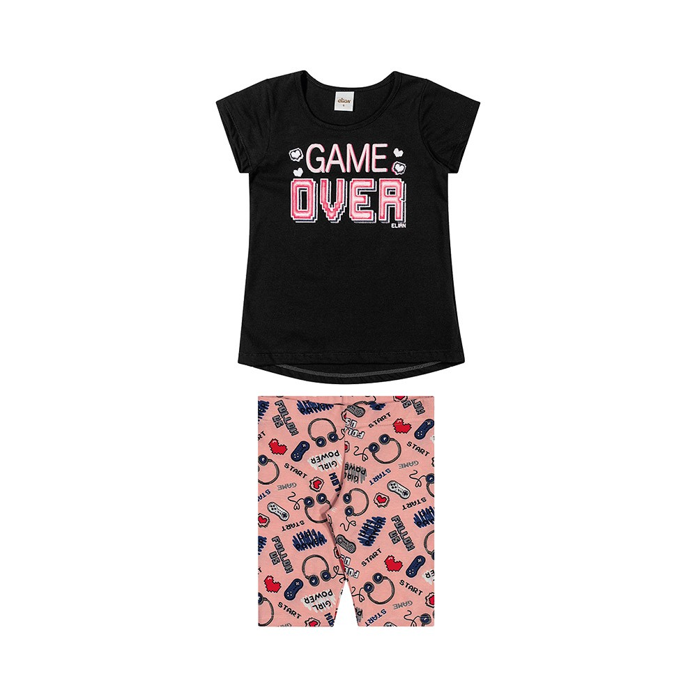 Conjunto Game Over Preto