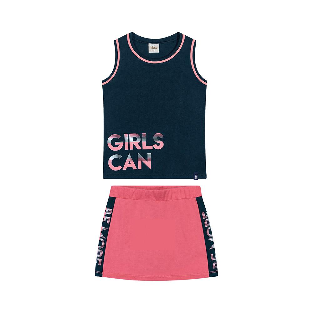 Conjunto Girls Can Marinho com shorts saia