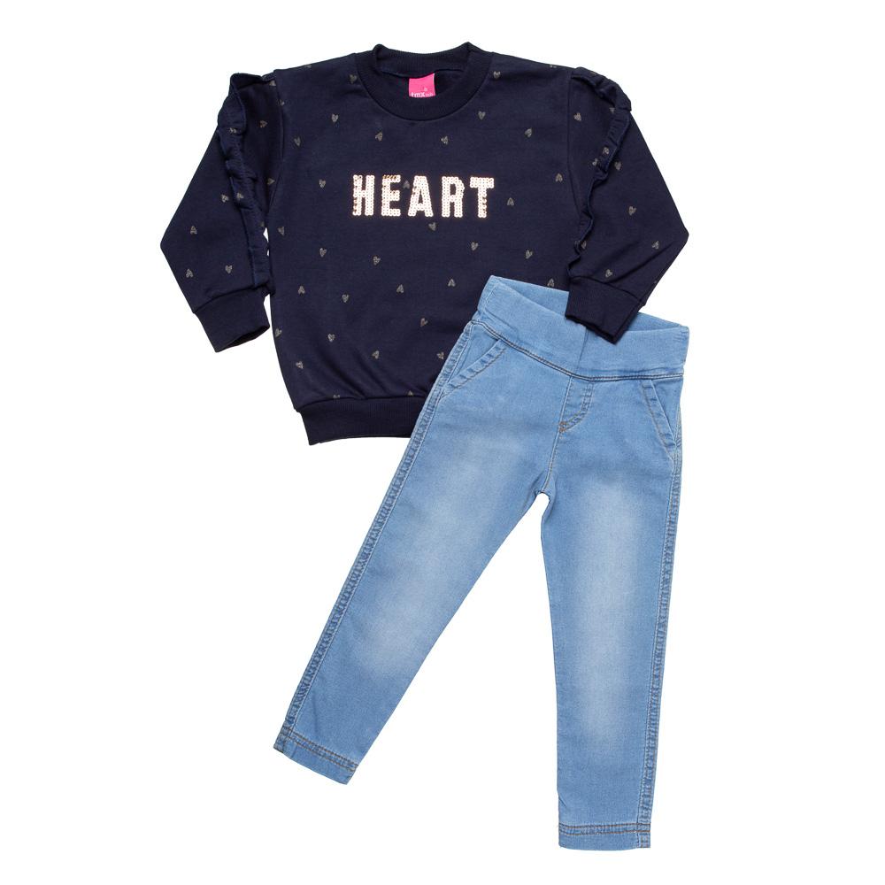 Conjunto Happy Marinho com Calça em Jeans Confort