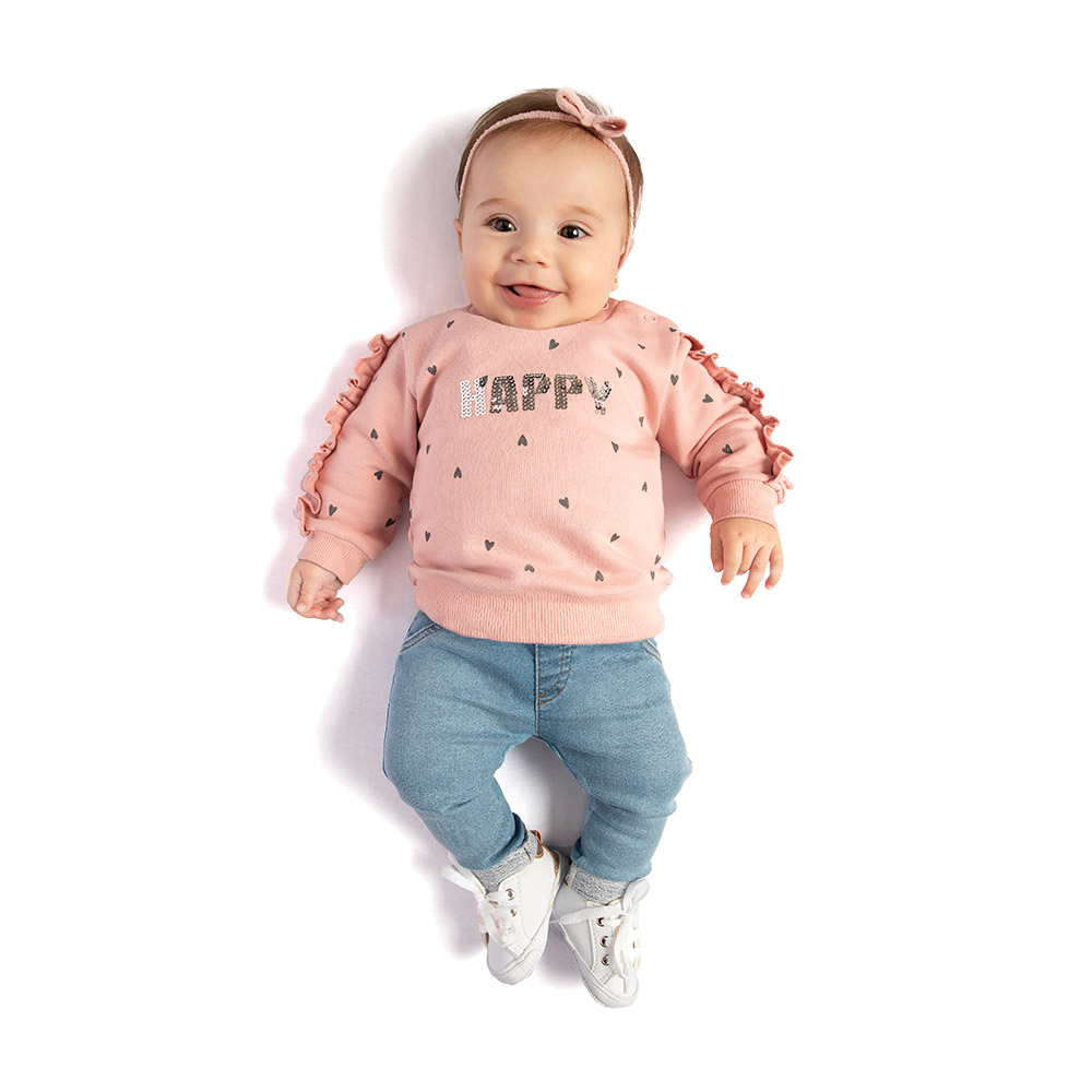 Conjunto Happy Rosa com Calça em Jeans Confort