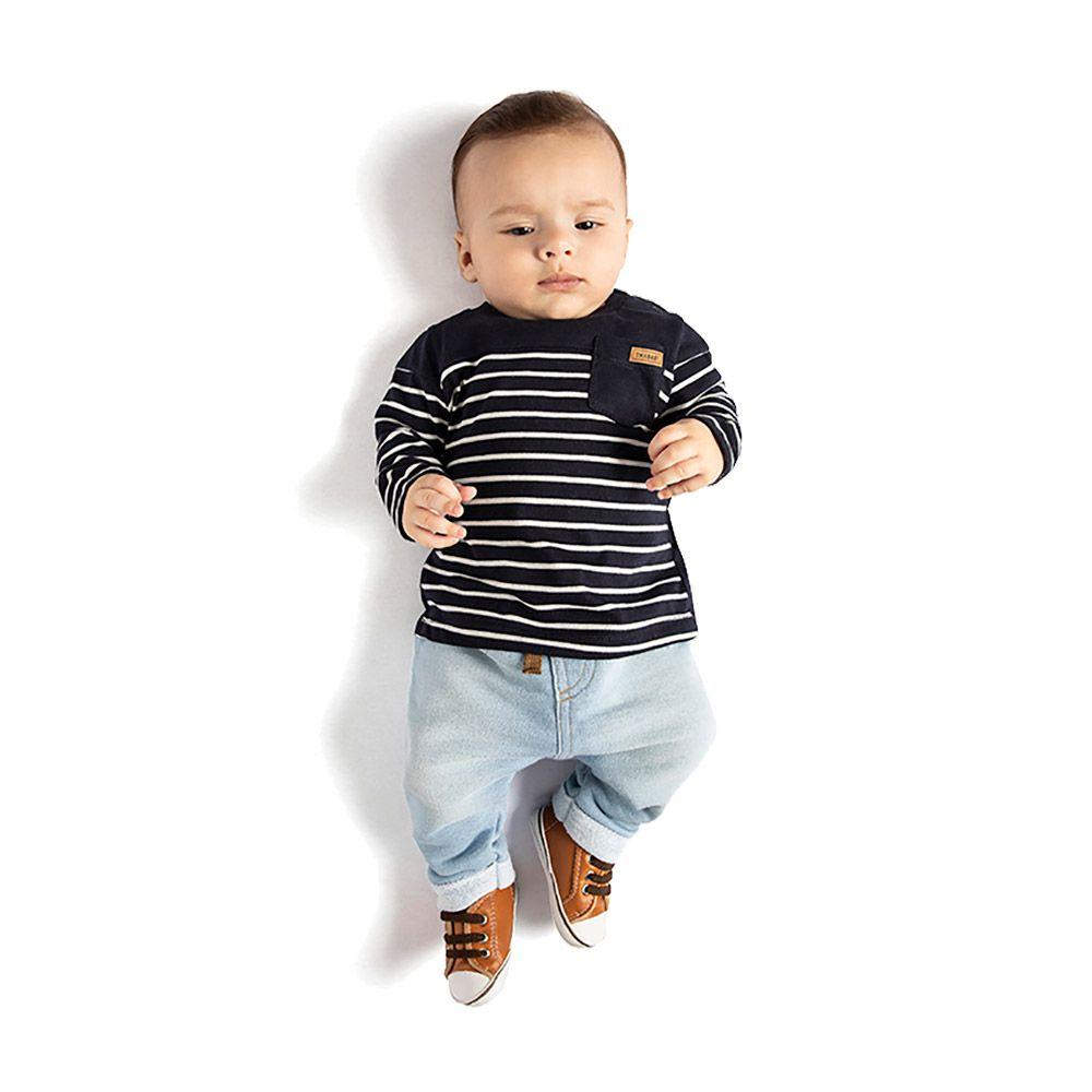 Conjunto Listras com Saruel em Moletom Jeans