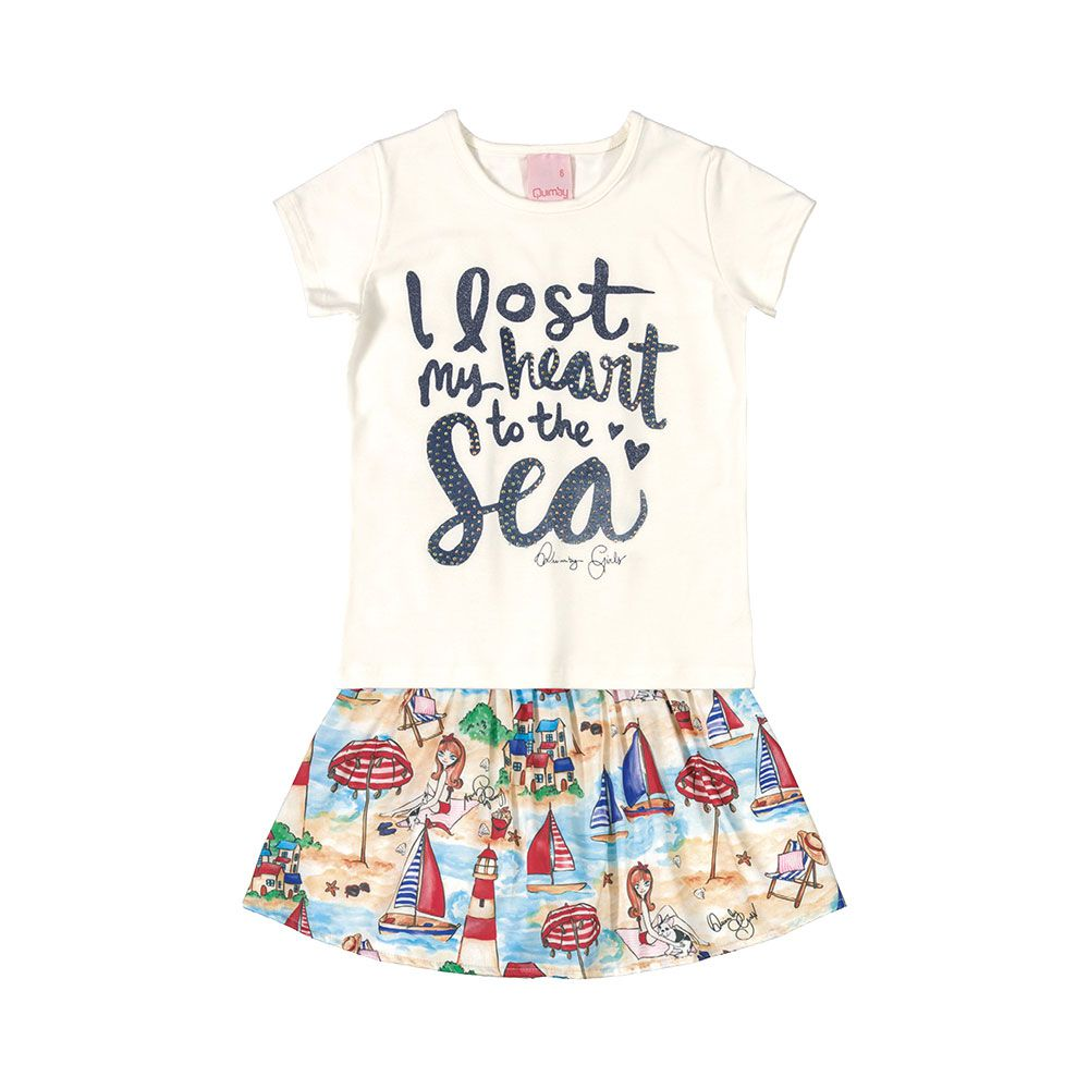 Conjunto Love Sea com shorts saia