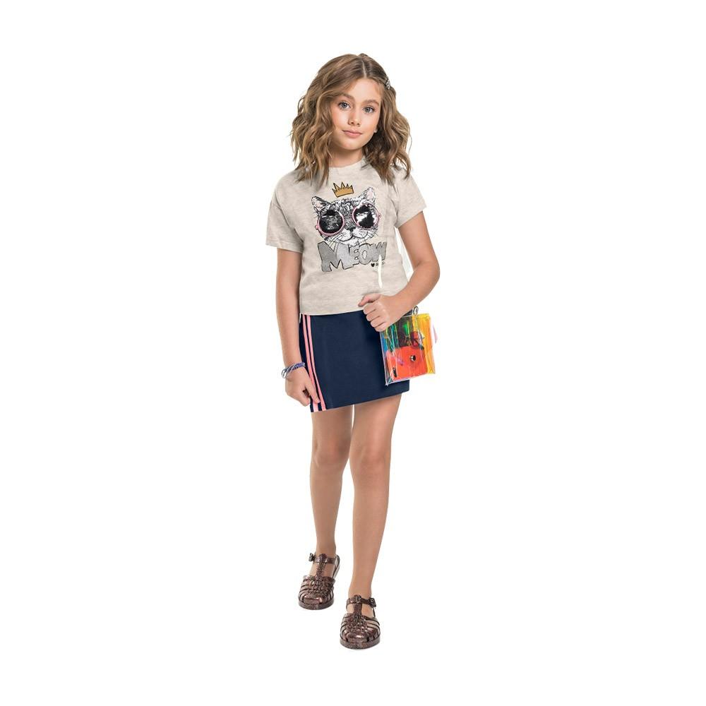 Conjunto Meow Gloss Mescla com shorts saia