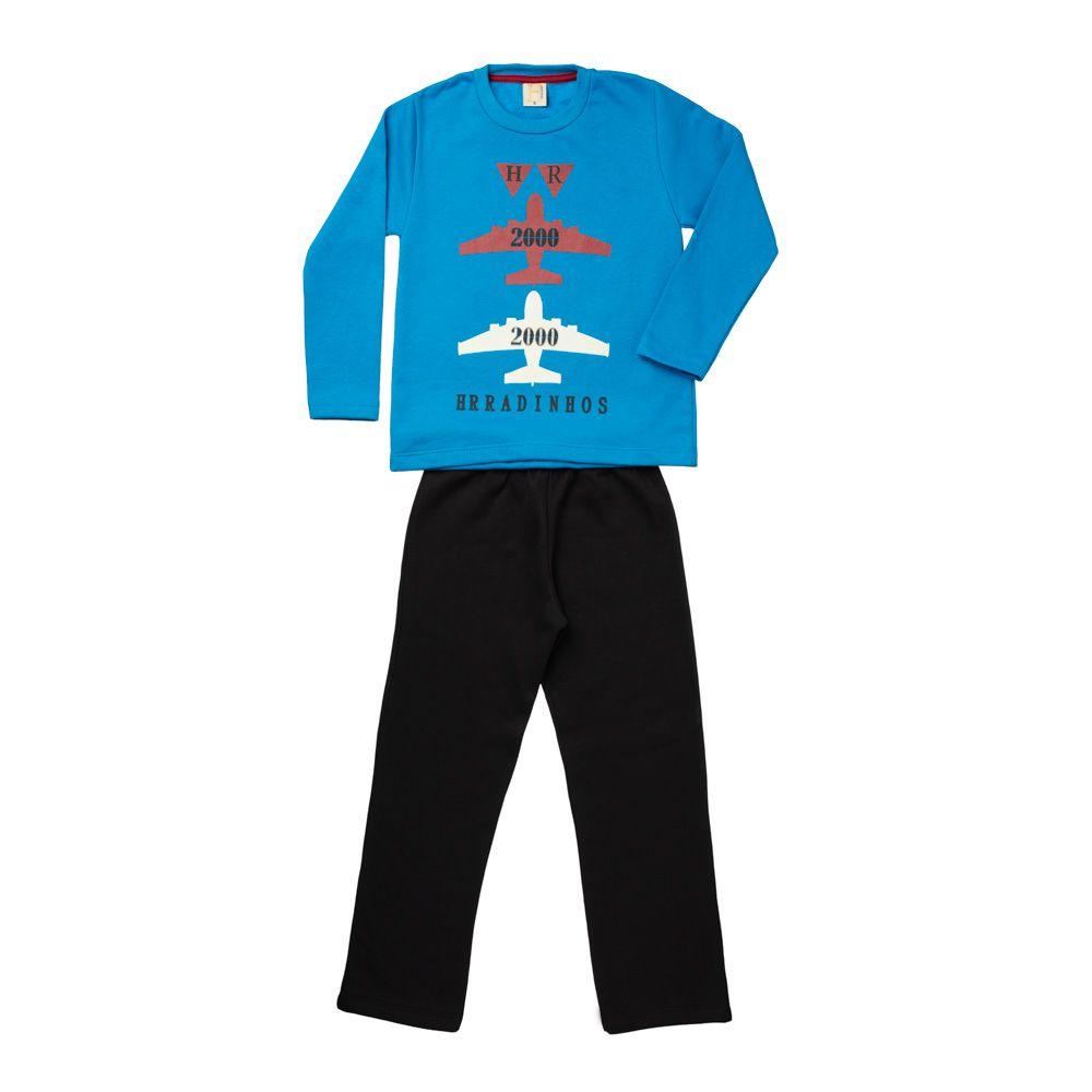Conjunto Moletom Aviões Azul Céu