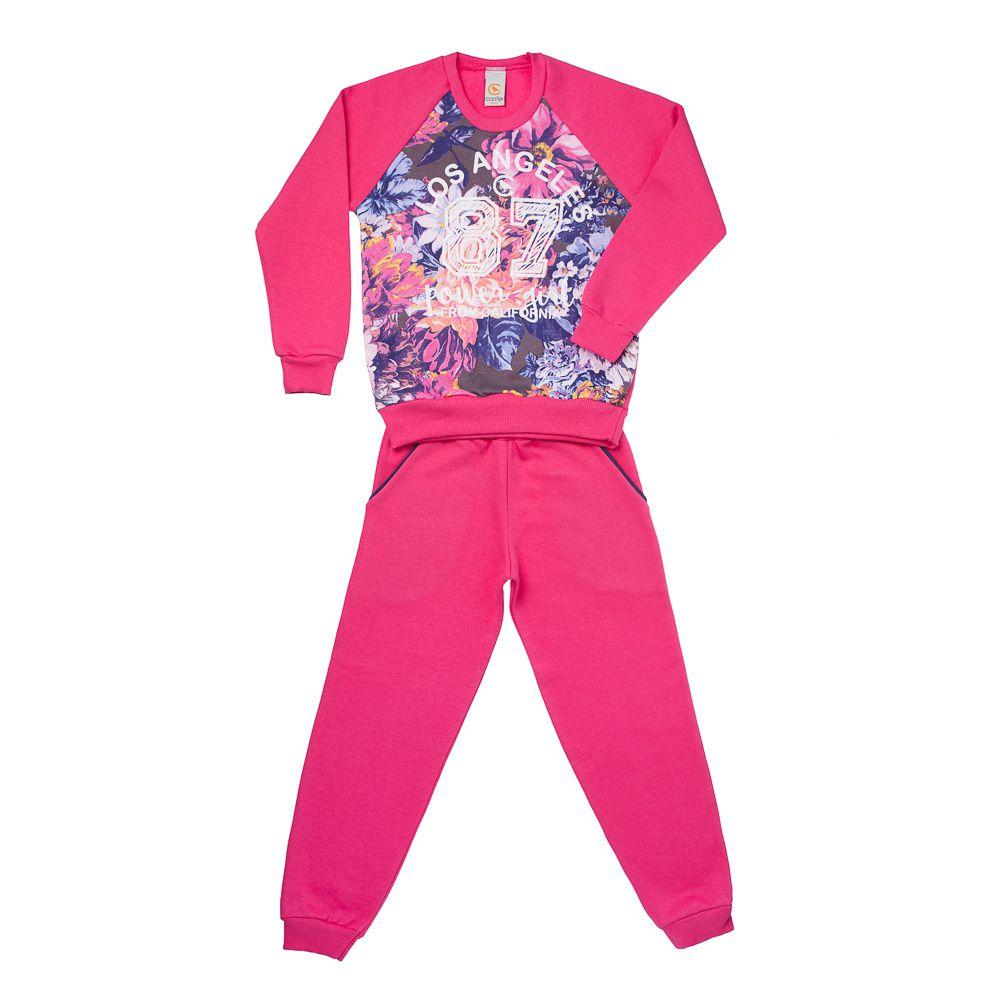 Conjunto Moletom Floral Pink