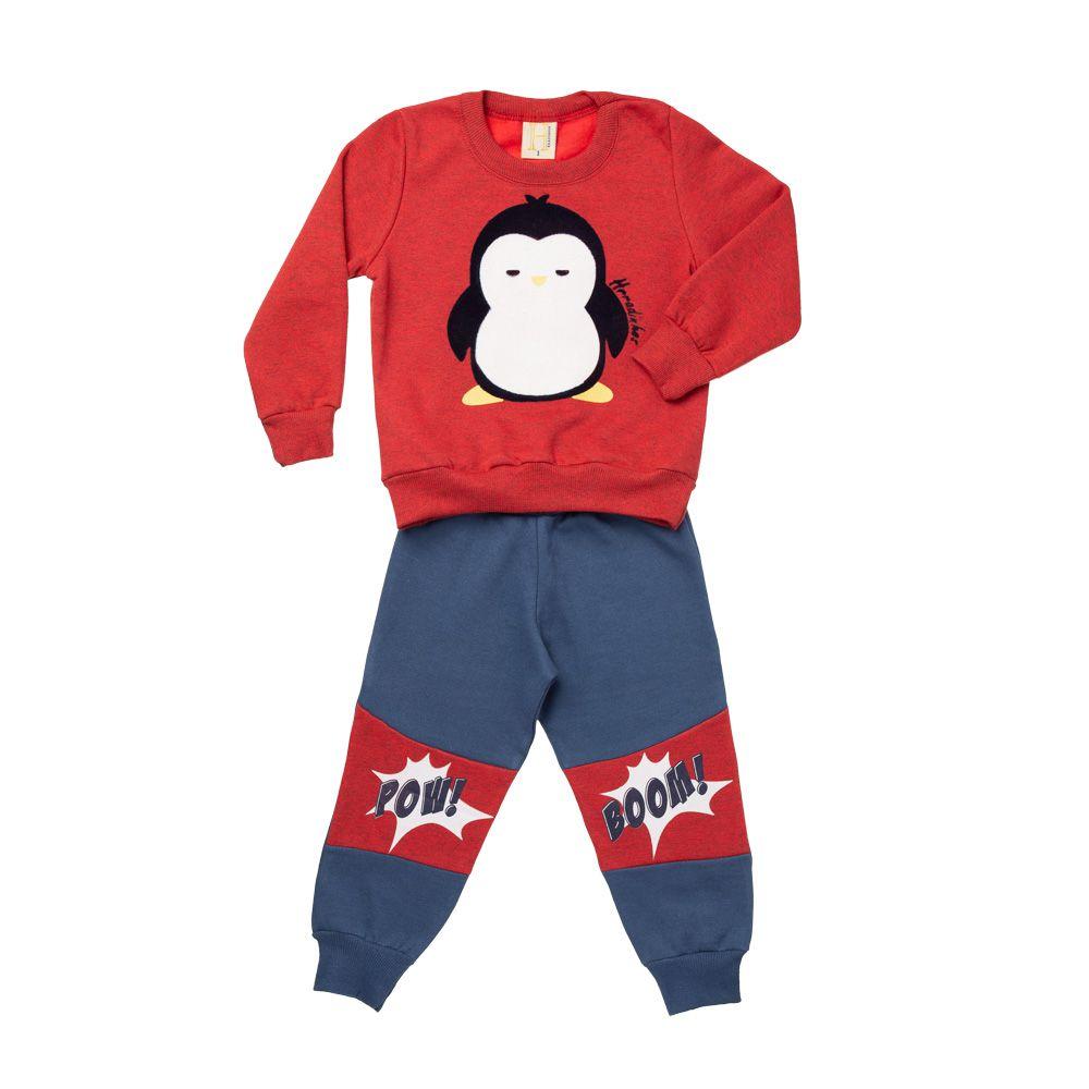 Conjunto Moletom Pinguim Vermelho