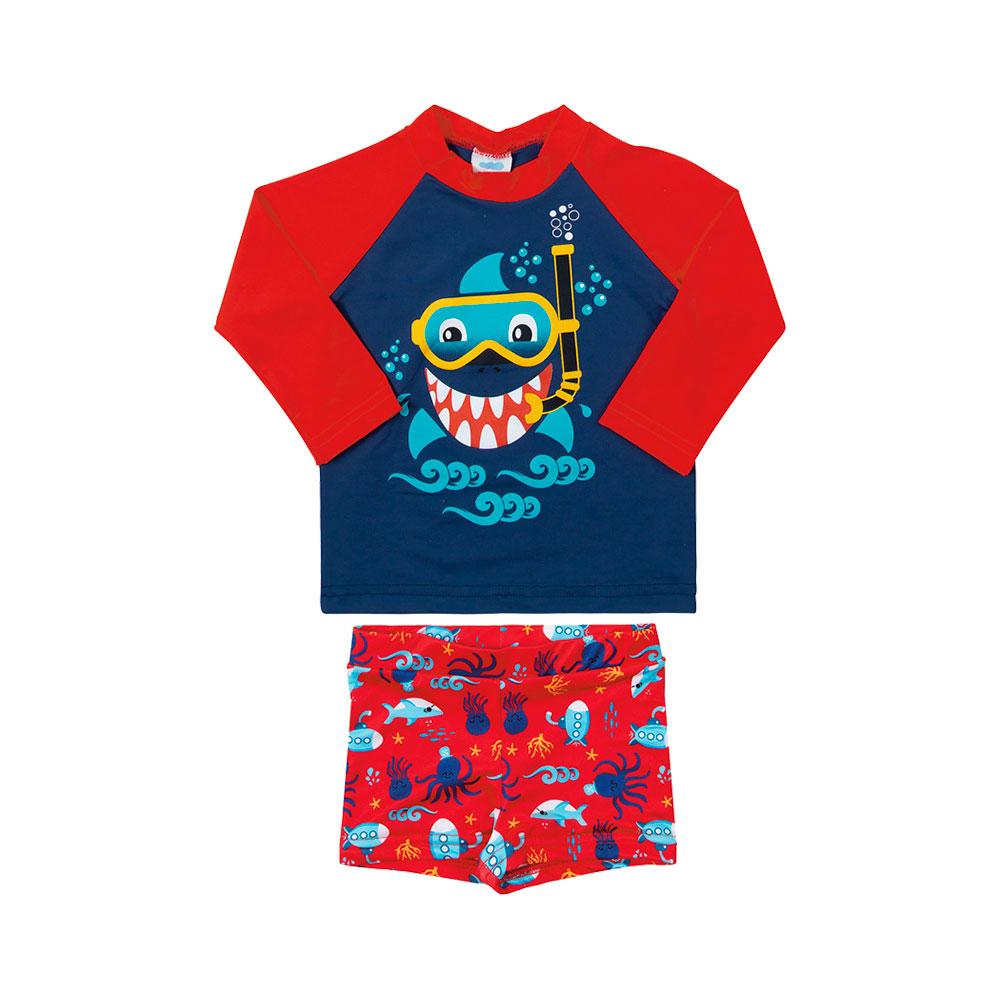 Conjunto Praia Baby Shark Marinho Marlan - Proteção Solar