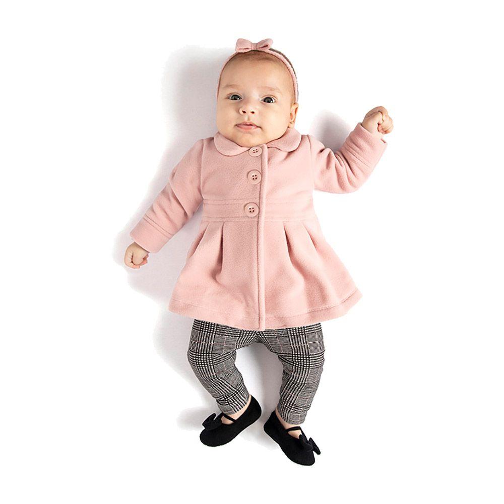 Conjunto Sobretudo e Legging Xadrez Baby TMX Rosa