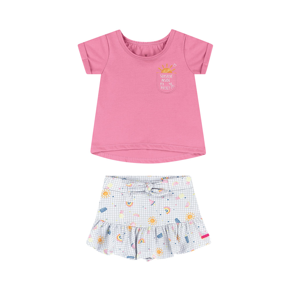 Conjunto Sweet Rosa Colorittá com Shorts Saia