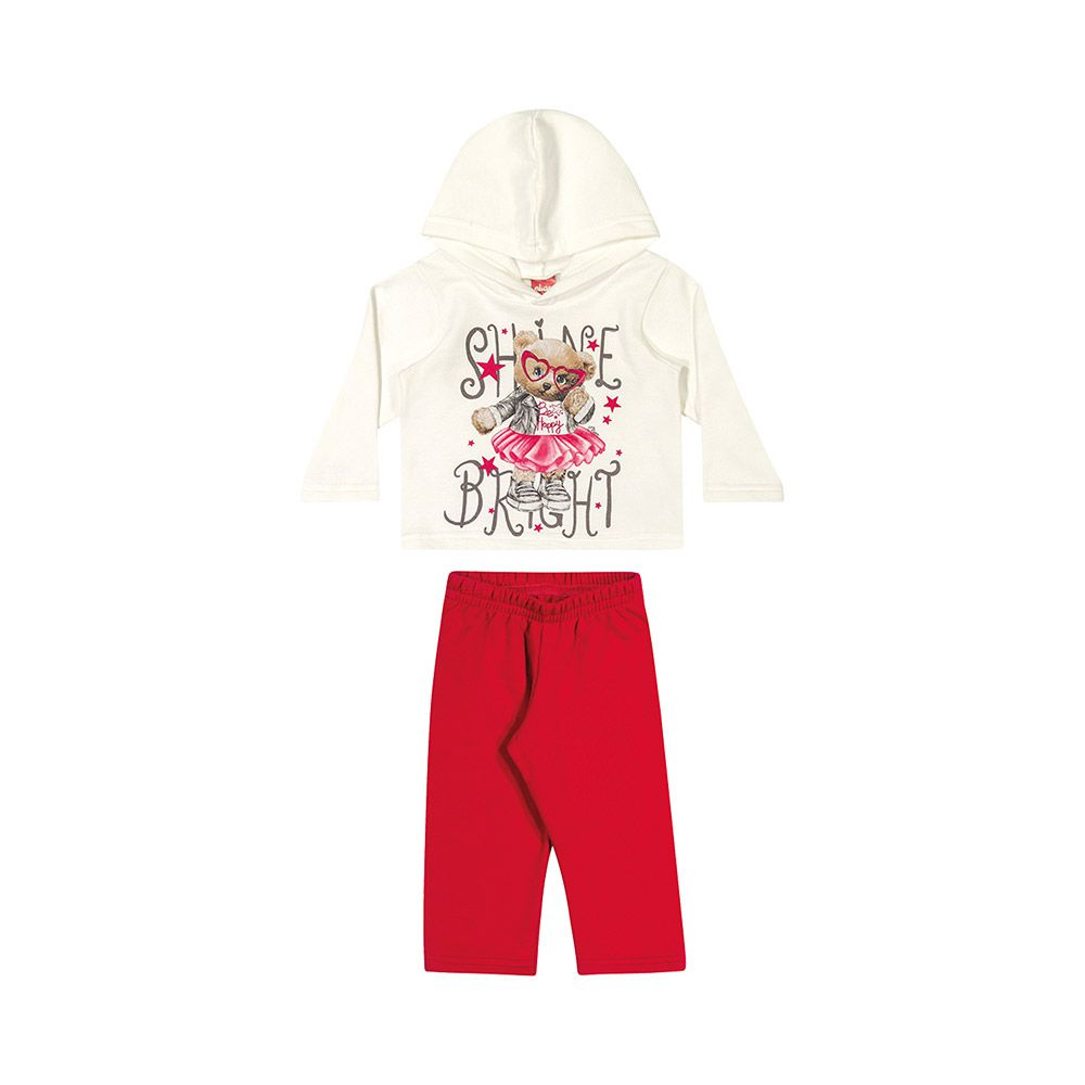 Conjunto  Ursinha Fashion Creme