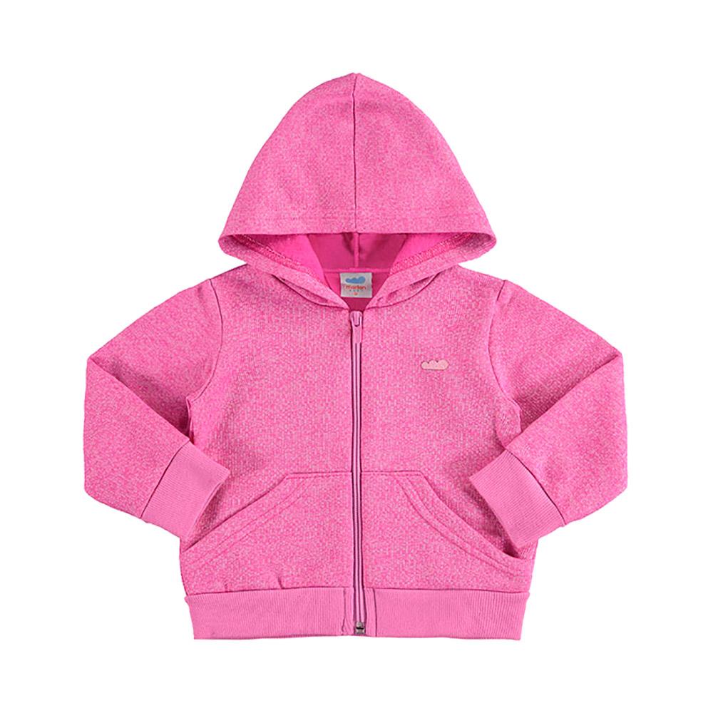 Jaqueta em MOletom Peluciado Rosa Pink