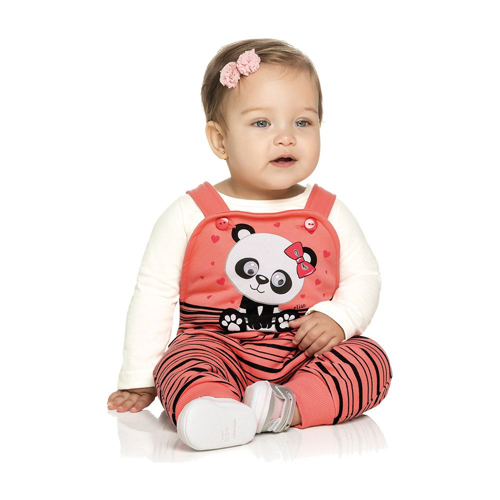 Jardineira Baby Panda com Blusinha Coral