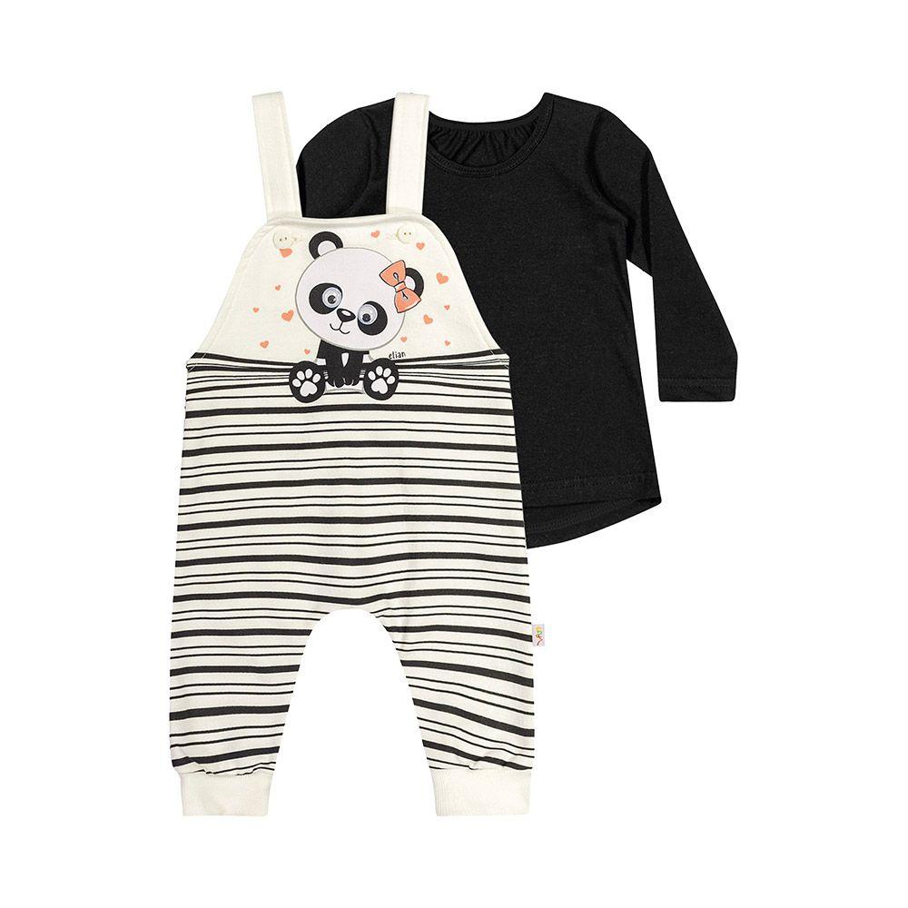 Jardineira Baby Panda com Blusinha Creme