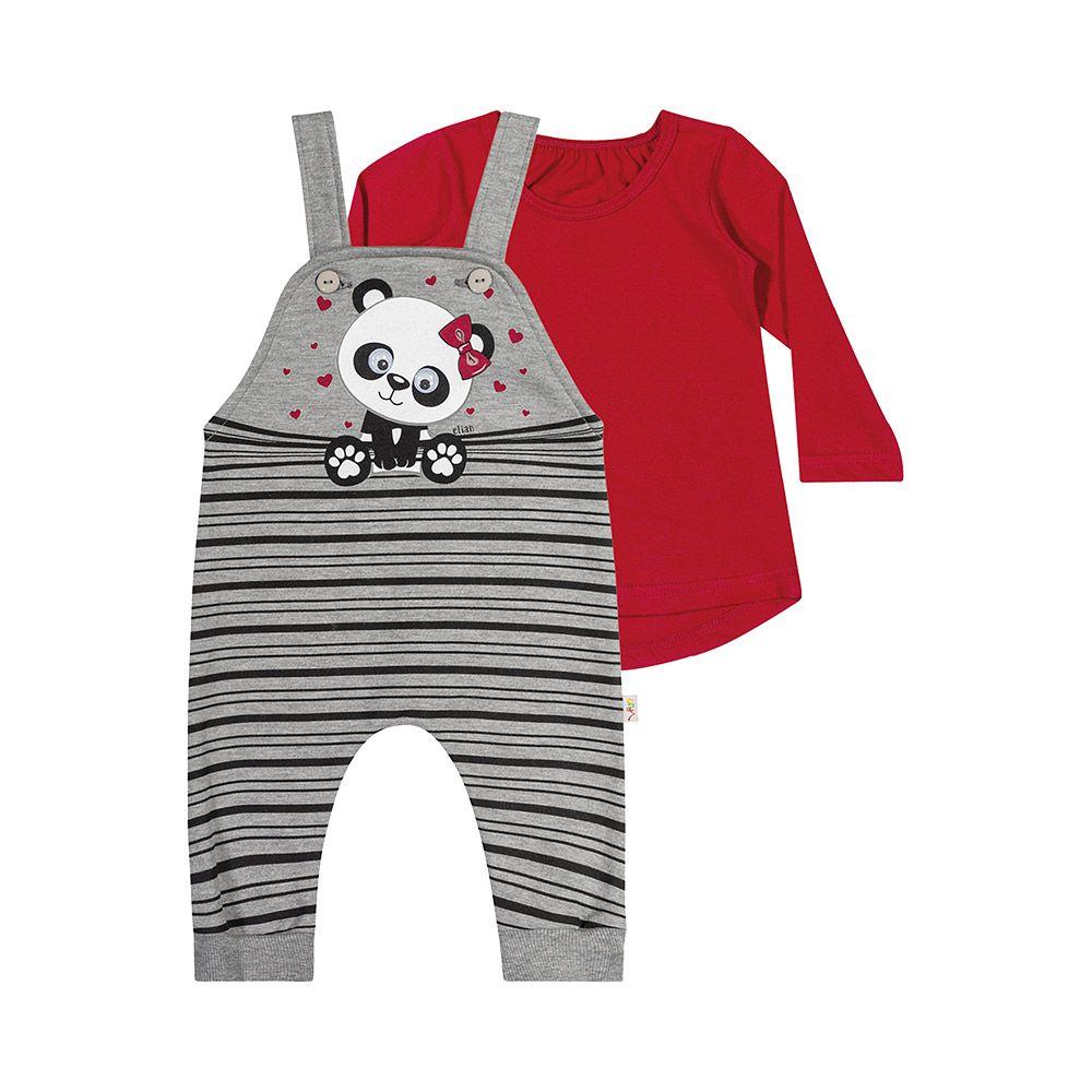 Jardineira Baby Panda com Blusinha Mescla
