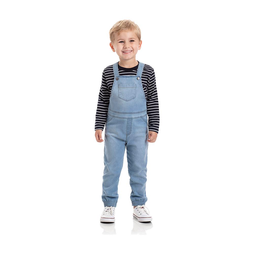 Jardineira em Jeans Confort Claro com Camiseta TMX