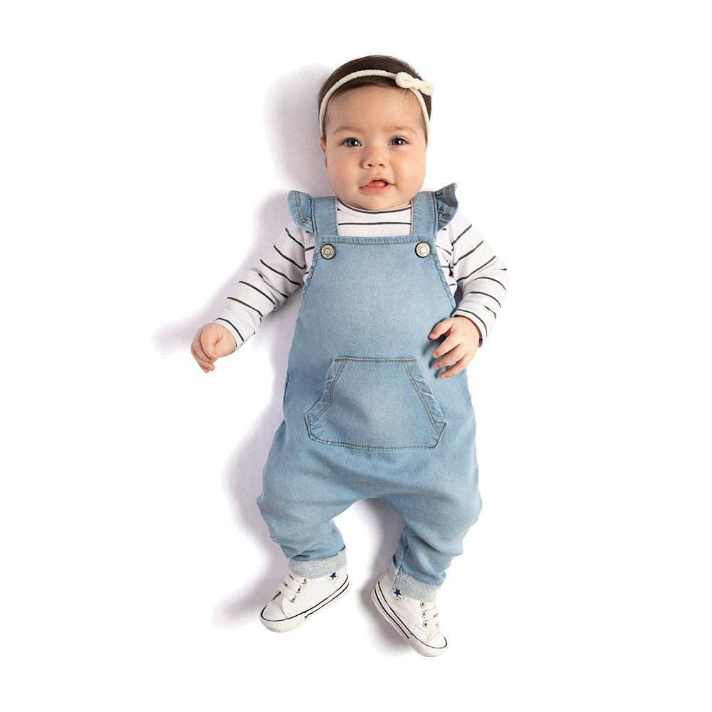 Jardineira em Jeans Confort com Body TMX Baby