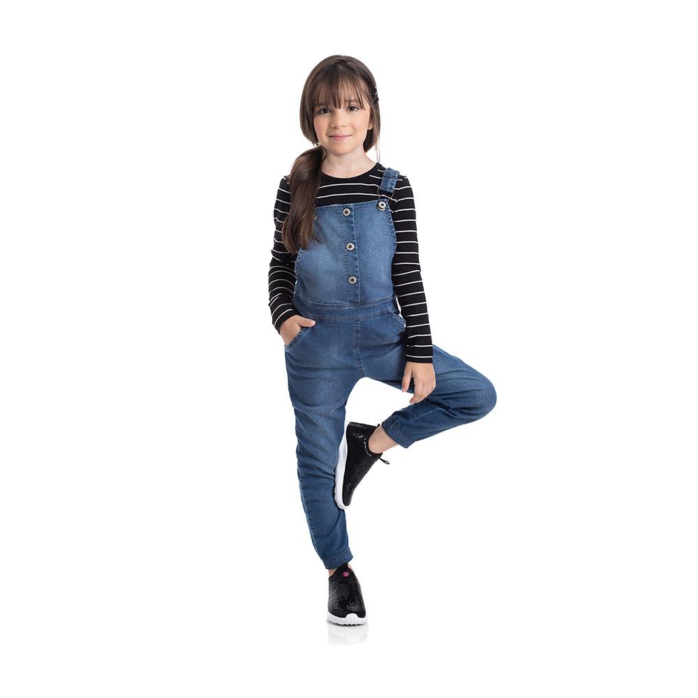 Jardineira em Jeans confort Médio com Blisinha TMX