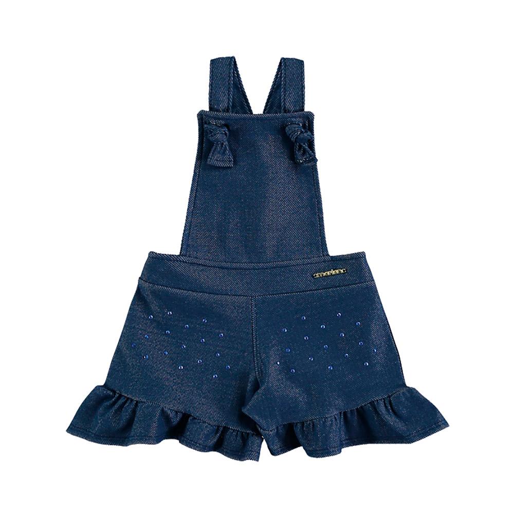 Jardineira em Molecotton Jeans Azul