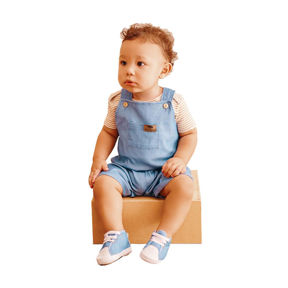 Jardineira em Tecido Jeans com Body Baby Gut