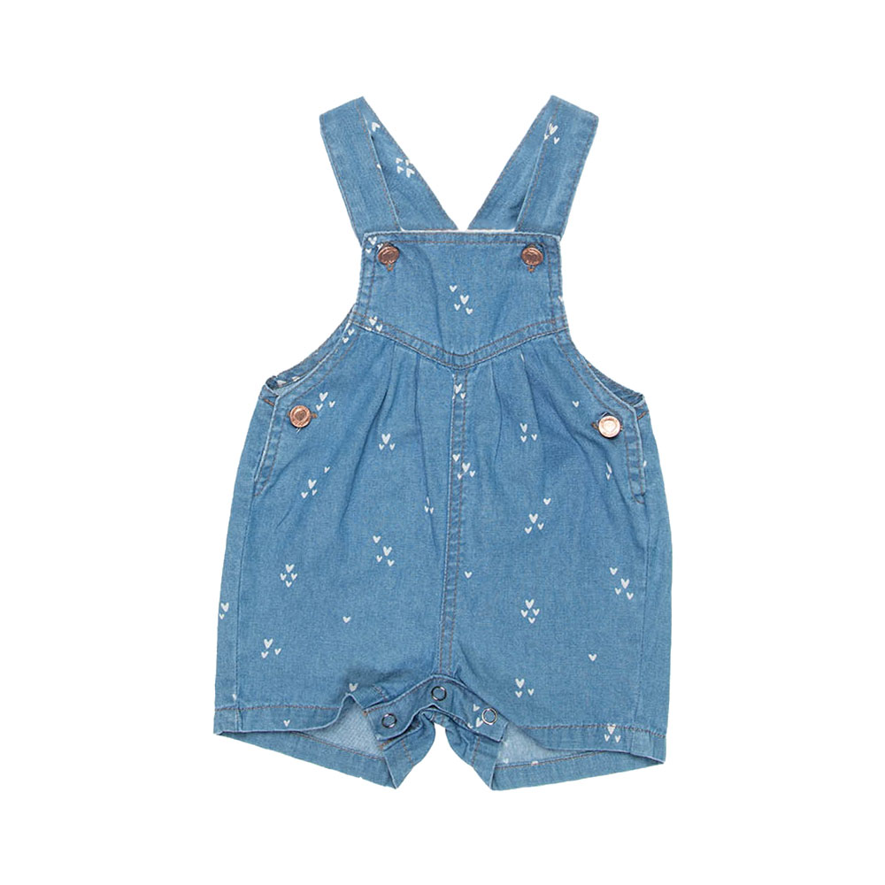 Jardineira Jeans Corações Baby Mania Kids