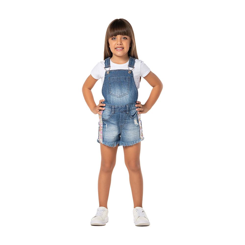 Jardineira Jeans Paetê Mania Kids