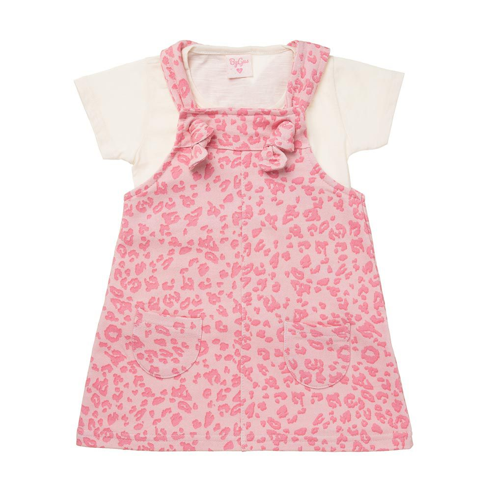 Jardineira Oncinha Fashion com blusinha Rosa