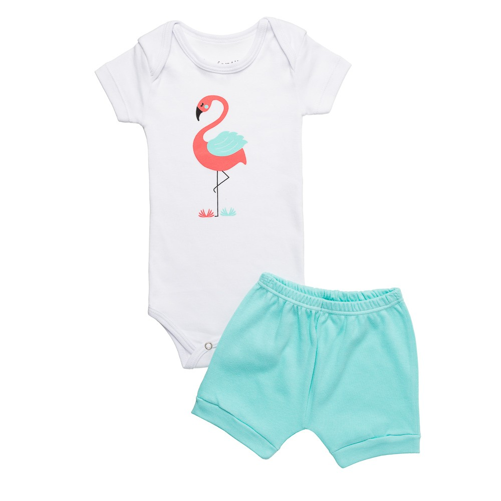 Kit Body e Shortinho Flamingo Infantilitá