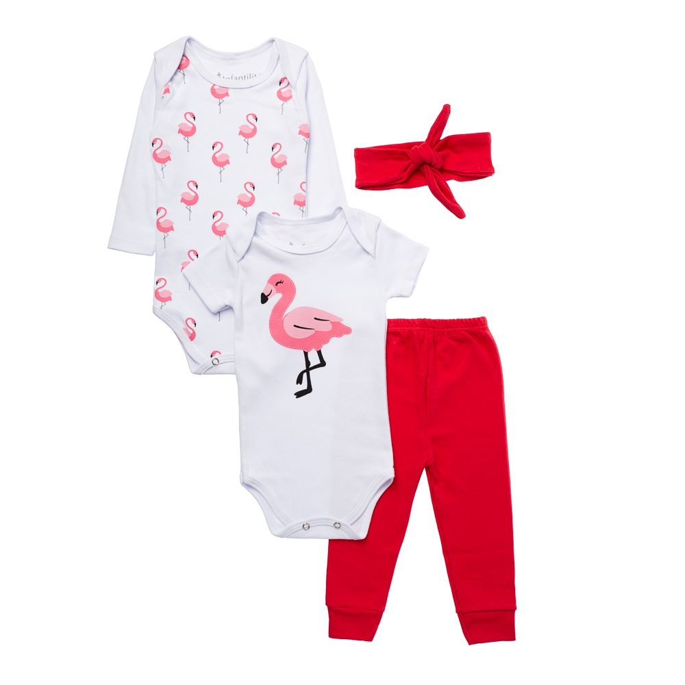 Kit Body Flamingo 4 peças Infantilitá