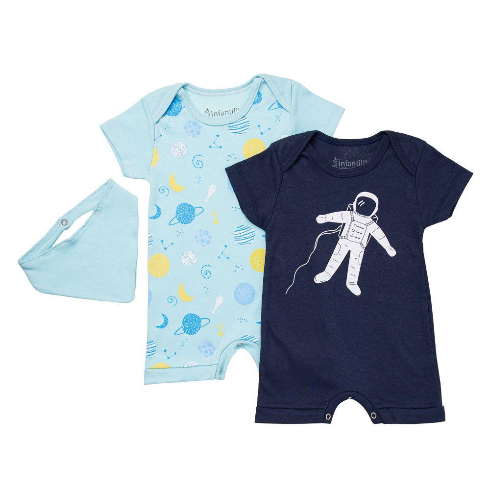 Kit Macação Astronauta 3 Peças Infantilitá