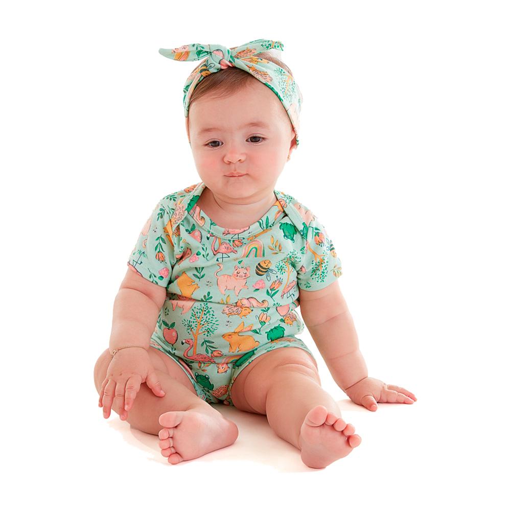Macacão Bichos Up Baby com Faixinha
