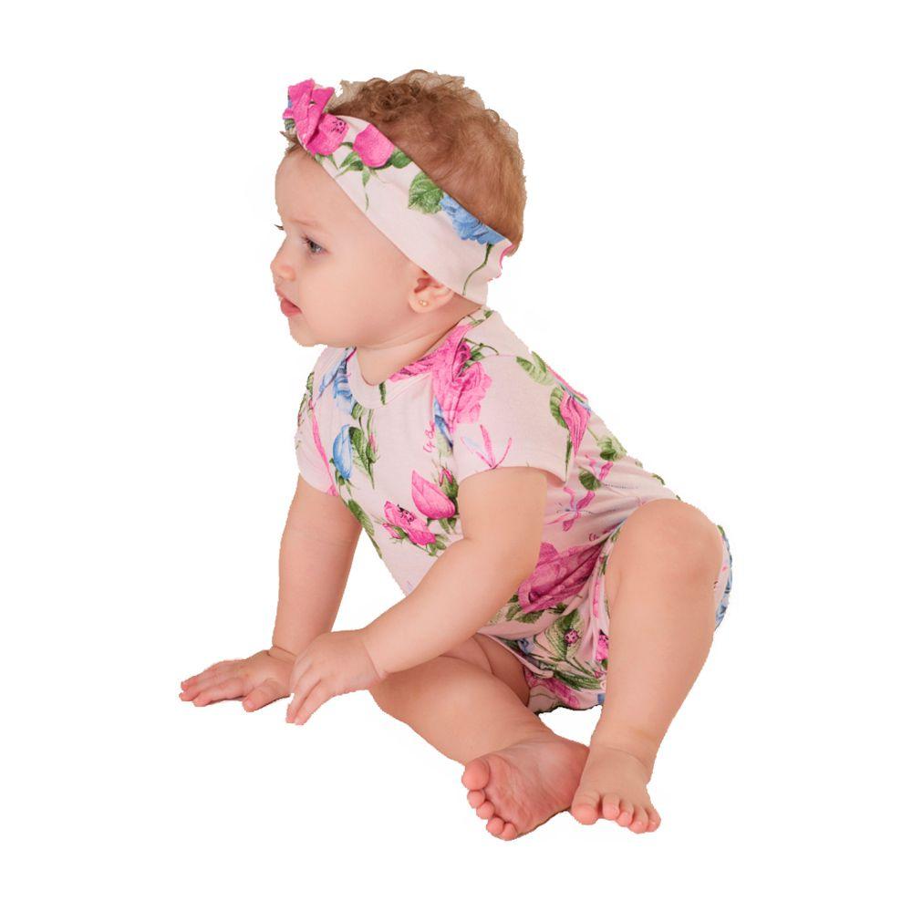 Macacão Floral com Faixinha Up Baby