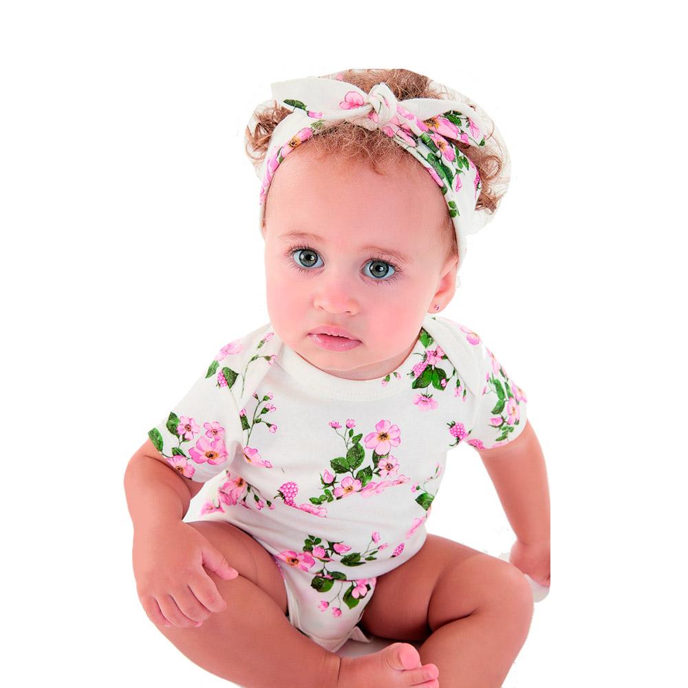 Macacão Flores Up Baby com Faixinha