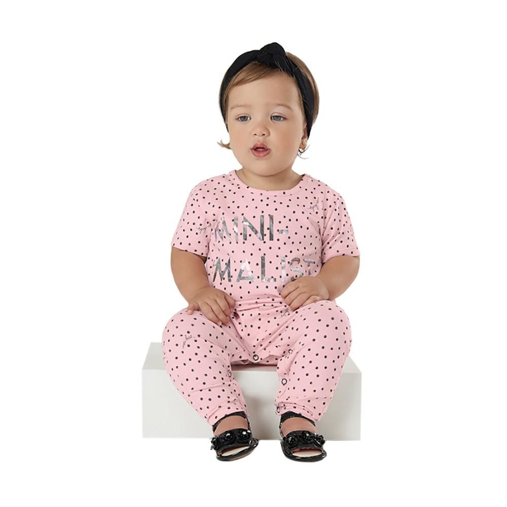 Macacão Minimalist Rosa com Faixinha Up Baby