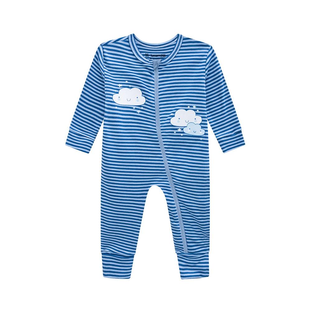 Macacão Nuvem Listras Azul