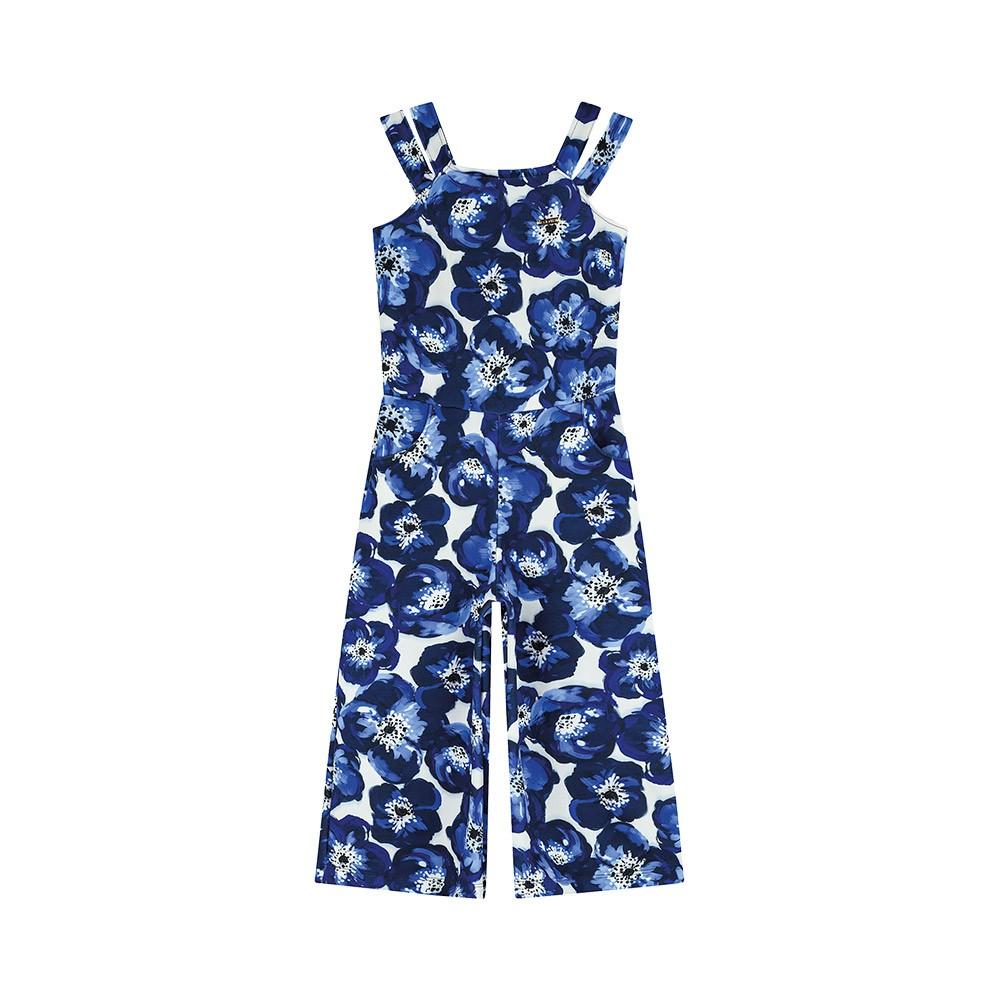 Macacão Pantacourt Floral Azul